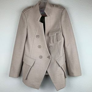 Pink Martini Military Style Wool Blend Coat